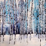 birch winter painting