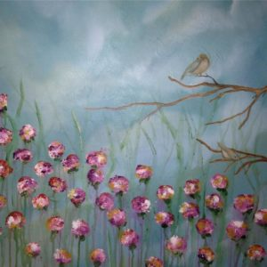 bird and flowers painting