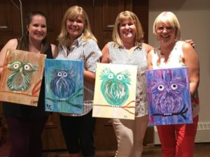 owl paintings, paint party, girls night